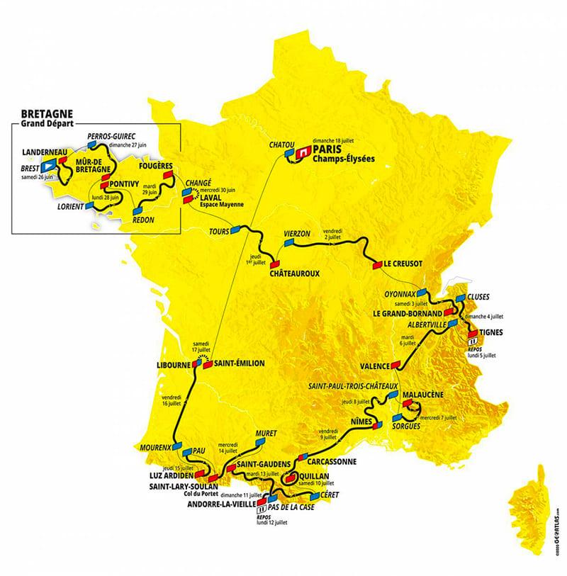 Parcours Tour de France 2021